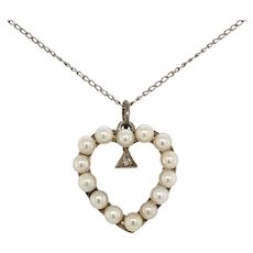 Vintage 14K White Gold Cultured Pearl Heart Pendant on Chain
