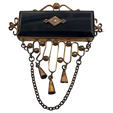 Victorian 10K Gold Onyx & Cultured Seed Pearl Brooch