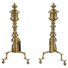 English Brass Late Federal Period Andirons c. 1820