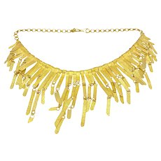 22K Gold Cleopatra Style Articulated Collar Necklace