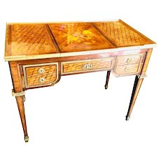 19th Century French Louis XVI Style Inlaid Kingwood Desk