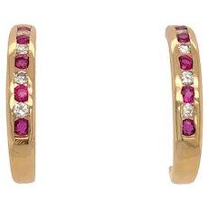 14K Gold Ruby & Diamond Half Hoop Earrings