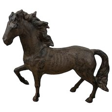 American Antique Cast Iron Prancing Horse Sculpture