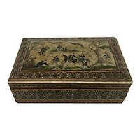 Persian Inlaid and Painted Figural Jewel Box