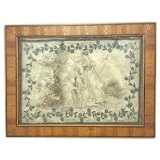 Early 19th C. Miniature Framed Needlework On Satin