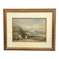 19th Century English Watercolor Mountainous Landscape