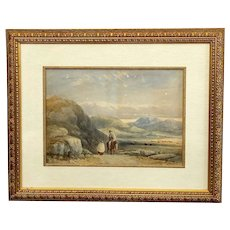 19th Century English Watercolor Mountainous Landscape