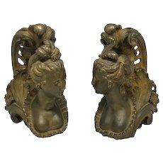 Late 19th C. Bronze Female Figural Mounts