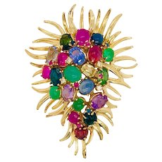 Dessin Paris 18K Yellow Gold Gemstone Fur Clip Pin Pendant