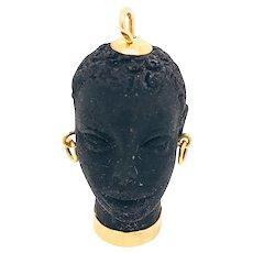 18K Gold Carved Ebony Italian Blackamoor Charm