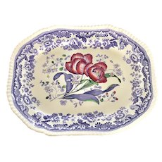 19th C. English Copeland Staffordshire Platter With Tulips