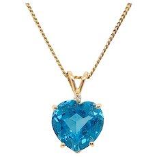 Vintage 14K Gold Blue Topaz Diamond Heart Pendant