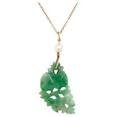 Vintage Carved Jadeite Pendant with Cultured Pearl on Chain