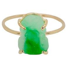 Vintage Carved Jade 14K Gold Frog Ring