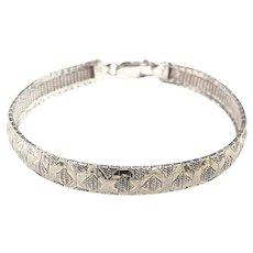 Vintage Textured Sterling Articulated Mesh Bracelet