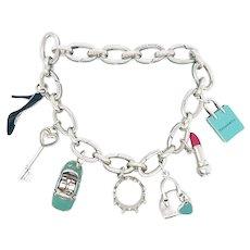 Tiffany Sterling Enamel Clasping Bracelet – 7 Tiffany Charms