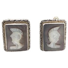 Vintage Italian CAMEXCO Sterling Cameo Cufflinks