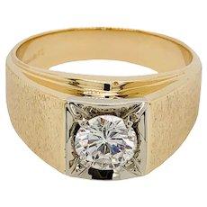 Vintage Men's 14K Yellow & White Gold Diamond Ring