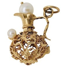 """Vintage 14K Gold Cultured Pearl & Ruby Pitcher """"Ewer"""" Charm"""