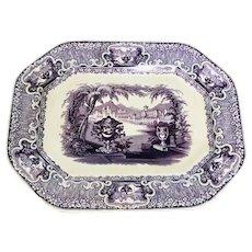 19th C. English Staffordshire Octagonal Platter