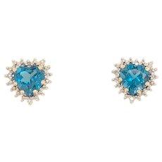 10K White Gold Blue Topaz Diamond Heart Earrings