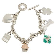 Tiffany & Co. Sterling Charm Bracelet with 6 Charms