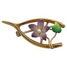 Art Nouveau 14K Gold Enamel Violet Wishbone Pin