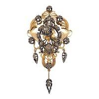 Victorian 18K Gold & Silver Diamond Long Brooch