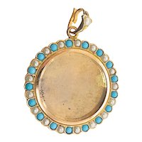 Antique 14K Gold Cultured Seed Pearl Turquoise Picture Locket