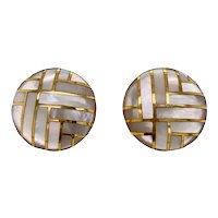 Asch Grossbardt 14K Gold Inlaid Cultured MOP Earrings