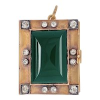 Victorian 14K Gold Diamond Glass Book Form Locket Pendant