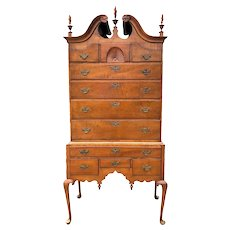 American Queen Anne Style Tiger Maple Highboy