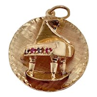 Vintage 14K Gold Ruby Sapphire Grand Piano Charm