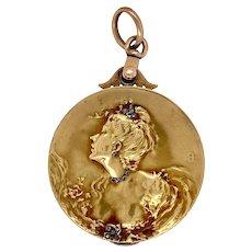 Fabulous Large 18K Gold Art Nouveau Figural Locket
