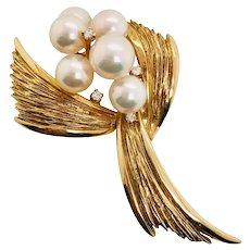 Vintage 14K Gold Mikimoto Cultured Pearl & Diamond Pin