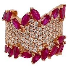 Vintage 14K Rose Gold Ruby & Pave Diamond Ring