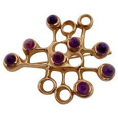 Modernist 14K Gold Amethyst Pin by David Andersen