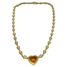 18K Gold Diamond Necklace With Orange Sapphire Heart