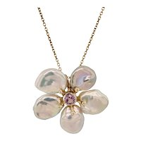 14K Gold Keshi Cultured Pearl Pink Spinel Flower Pendant on Chain
