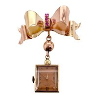 Retro 14K Rose & Yellow Gold Ruby Bow Watch Pin with Watch