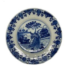 Dutch Delft Blue & White Ceramic Plate Dated 1764