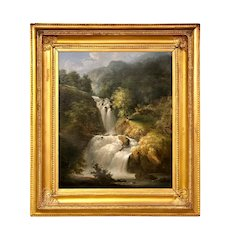 American Hudson River School Landscape With Waterfall 19th C.
