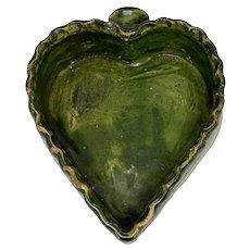 19th C Green Glaze Redware Folk Art Pottery Heart Dish