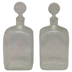 19th C. Bohemian Etched Clear Perfume Bottles