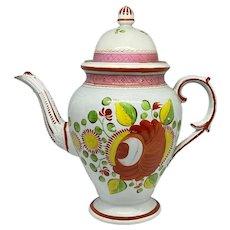 19th C. English Gaudy Dutch Soft Paste Porcelain Coffee Pot