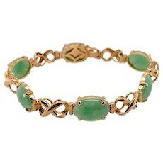 Vintage Gumps 14K Gold Jade Link Bracelet
