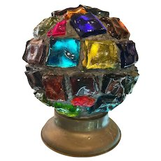 Unusual Antique Colored Shard Glass Ball Lamp