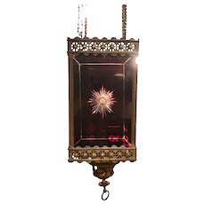 Victorian Brass And Cut Ruby Glass Hanging Lantern Light