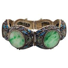 Vintage Chinese Silver Jade Enamel Link Bracelet