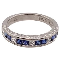 Art Deco Style Platinum Diamond & Sapphire Band Ring